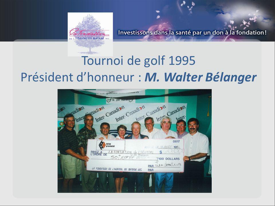 Tournoi de golf 1995 Président dhonneur : M. Walter Bélanger