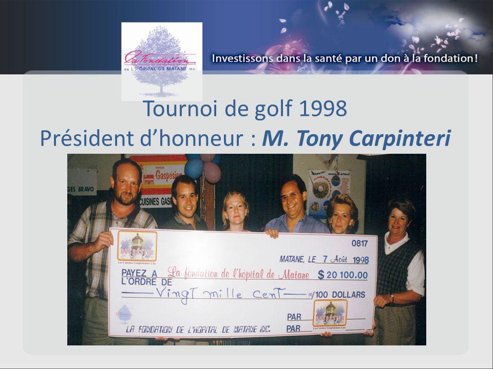 Tournoi de golf 1998 Président dhonneur : M. Tony Carpinteri