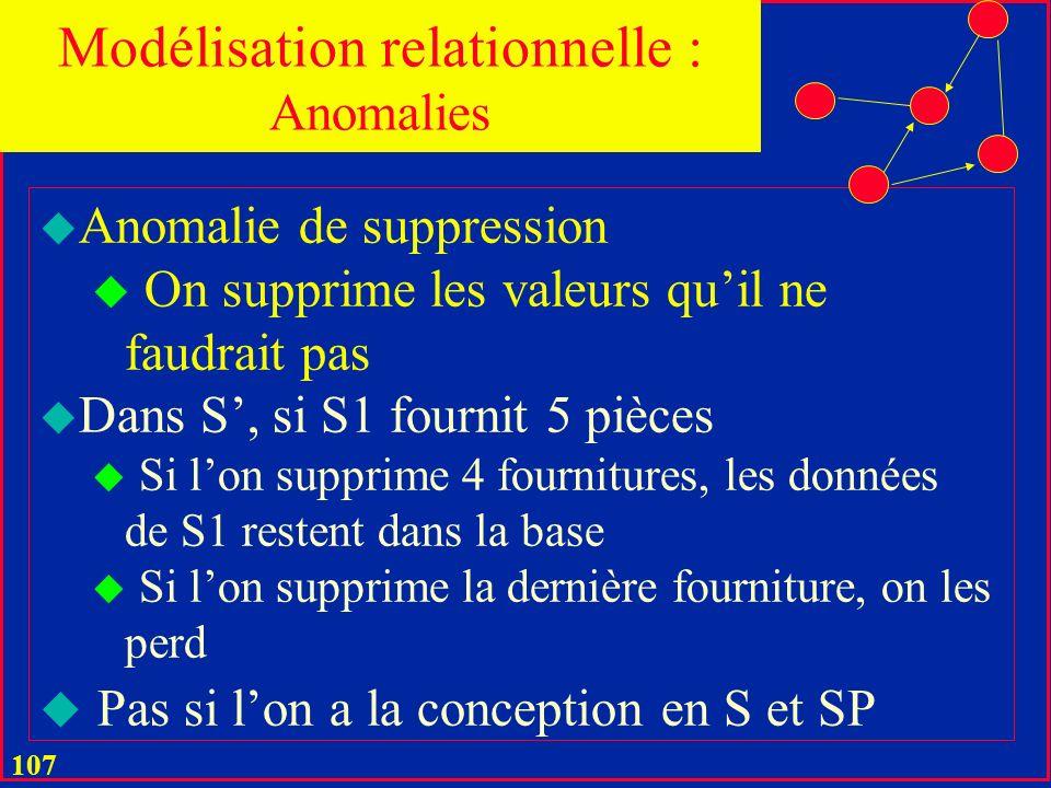 106 u Anomalie de MAJ u On MAJ plusieurs valeurs au lieu dune seule u Pour une bonne conception u Dans S, si S1 fournit 5 pièces et déménage à Paris, alors il faut mettre à jour 5 valeurs u Dans S, il suffit dune seule Modélisation relationnelle : Anomalies