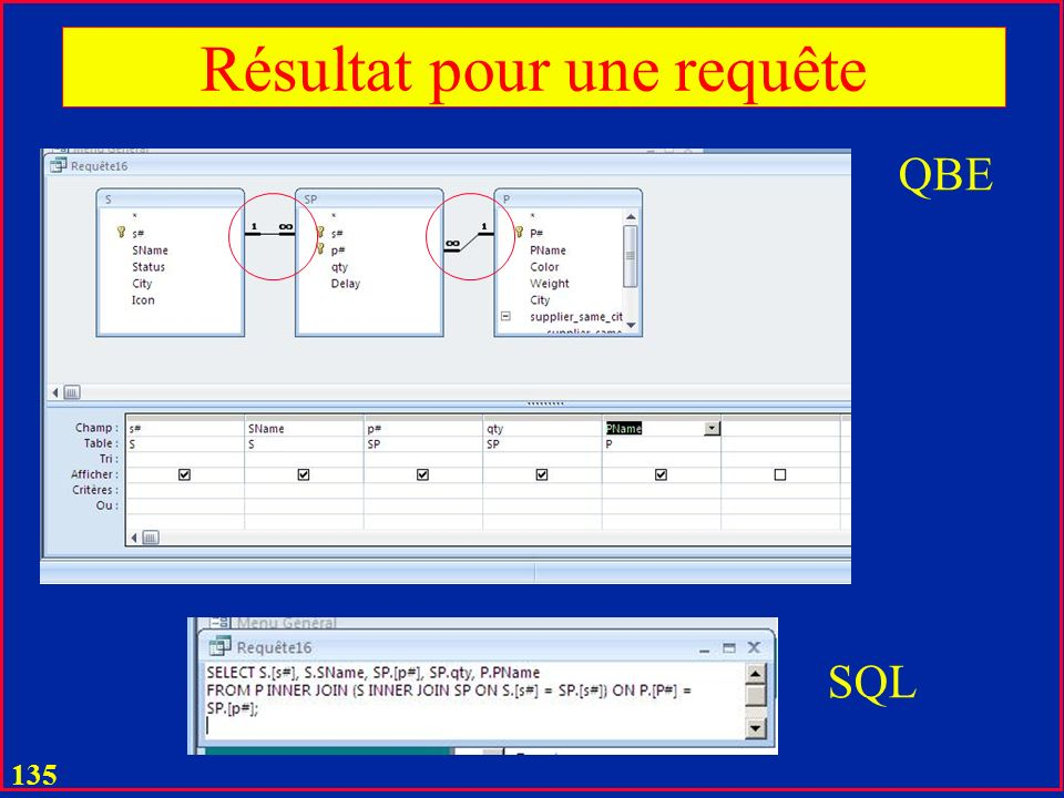 134 Jointure Implicite (S – SP) Choix de jointure interne (défaut)