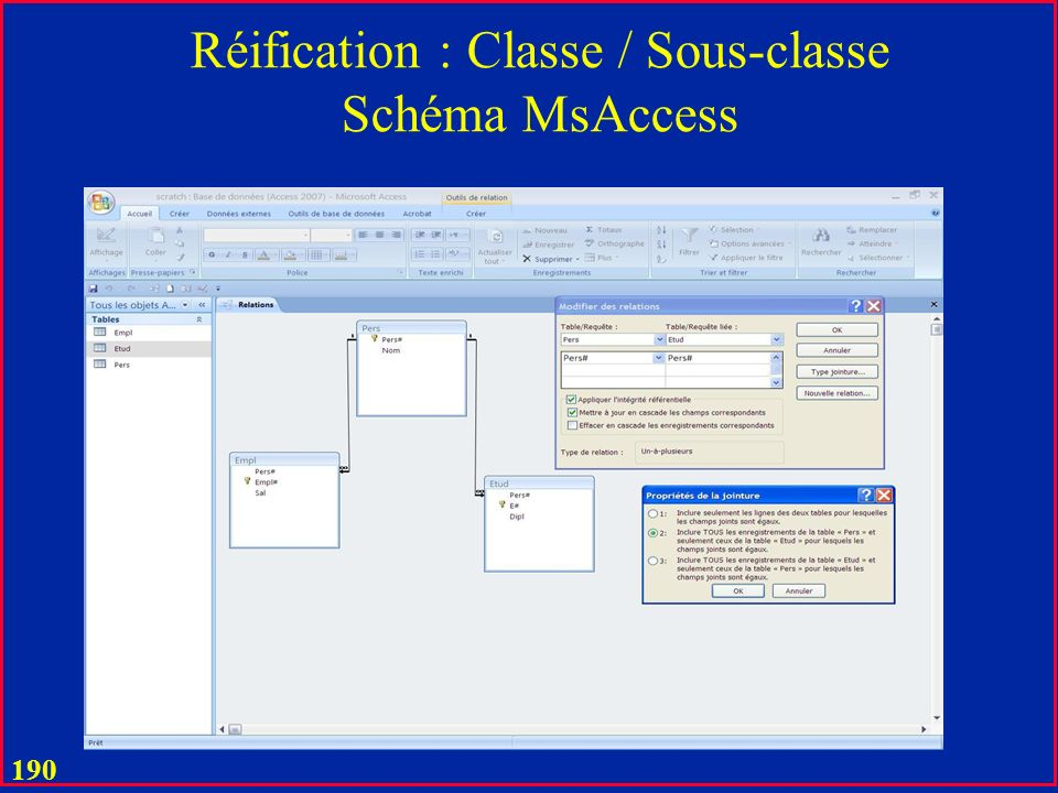 189 Réification : Classe / Sous-classe Client HommeFemme C# Nom Mandatory/ OR Nom_JF Client C# Nom Nom_JF Sinon votre proposition ici OK ?