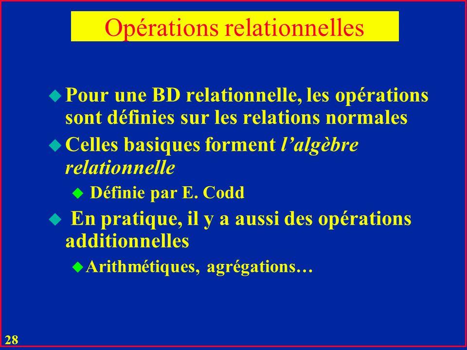27 Opérations relationnelles u Une relation est un fichier qui supporte les opérations relationnelles u Une opération relationnelle transforme des relations arguments dans une relation résultat : u une relation temporaire n appartenant pas au schéma de la base.