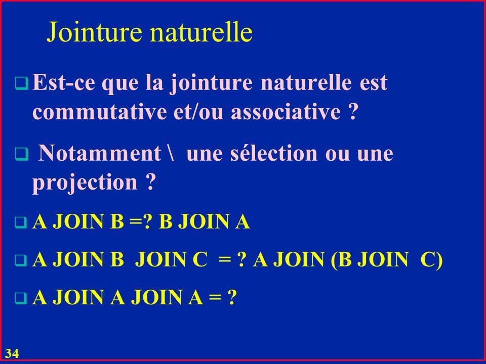 33 Jointure naturelle u La jointure A JOIN B de deux tables A (X, Y) et B (Z, Y) est la table C avec les attributs : C (X, Y, Z) et avec tous les tuples (X:x, Y:y, Z:z ) tels que (x, y) est dans A et (y, z) est dans B u pas dautres tuples u X, Y, Z peuvent être composés
