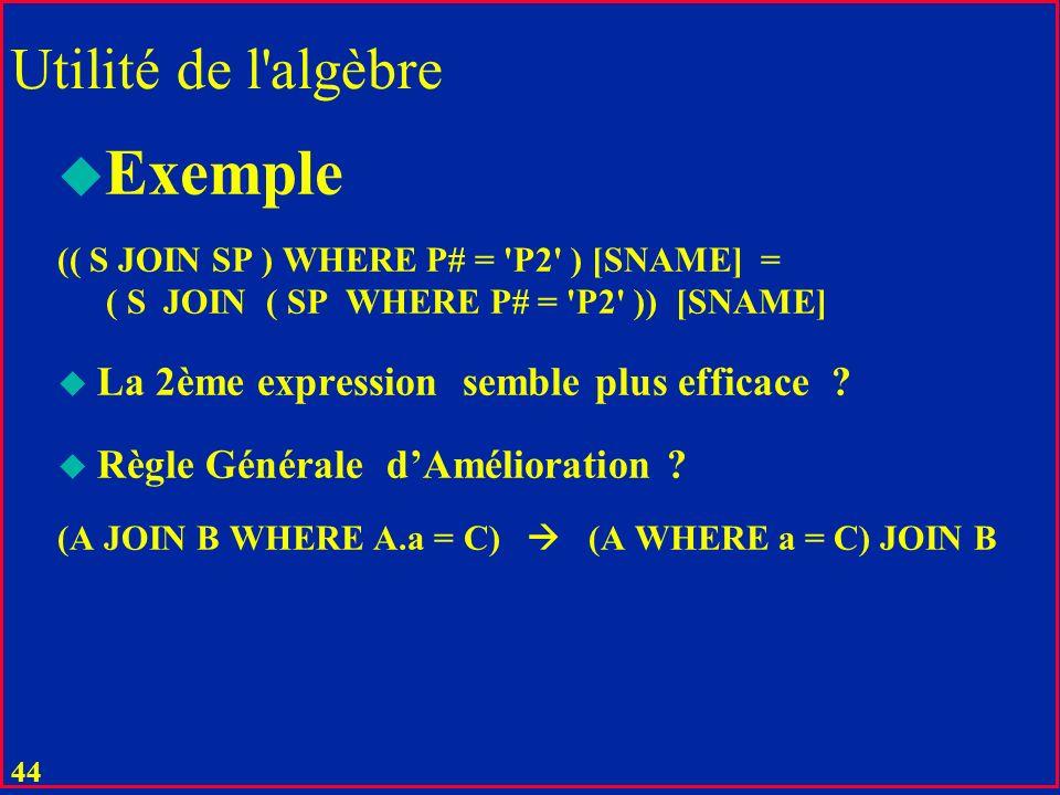 43 Utilité de l'algèbre Technique de choix pour l'implémentation Il n'y a que 8 opérateurs Ces opérateurs sont faciles à implémenter Leur propriétés p