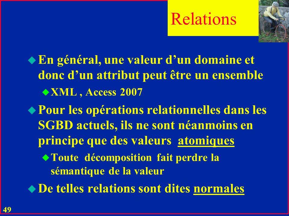 48 u Une relation réelle est définie à partir des valeurs de ses attributs u Une relation virtuelle (vue) est dérivée (héritée) par une opération rela