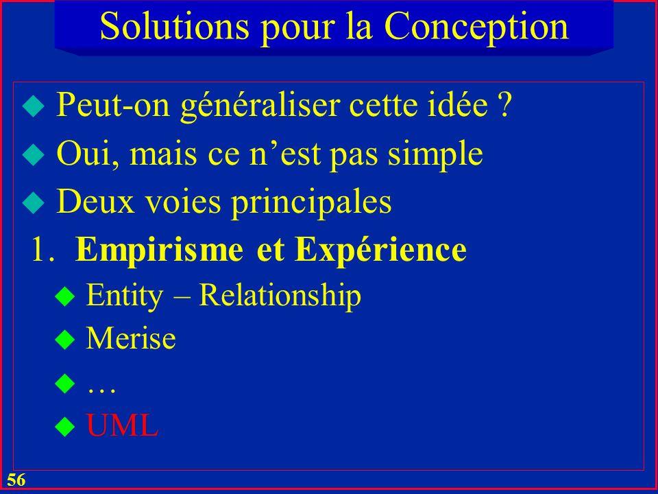 55 Solutions pour la Conception u Alors comment faire .