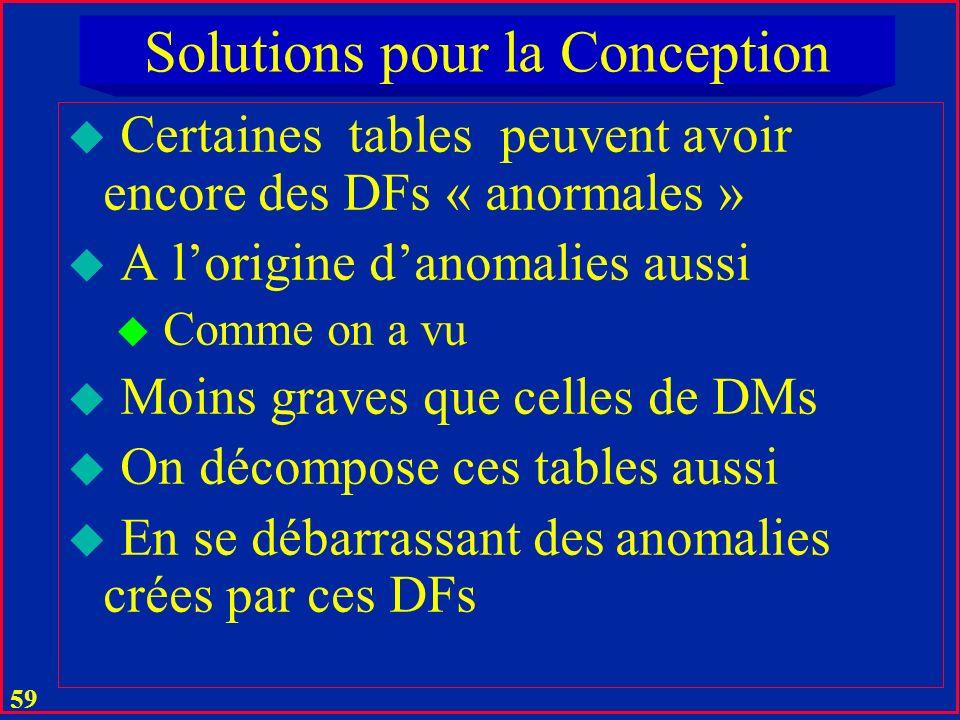 58 Solutions pour la Conception u On élimine dabord les DMs u Génératrices danomalies les plus graves u Quand passe une table de 0 NF à 1 NF u Comme o
