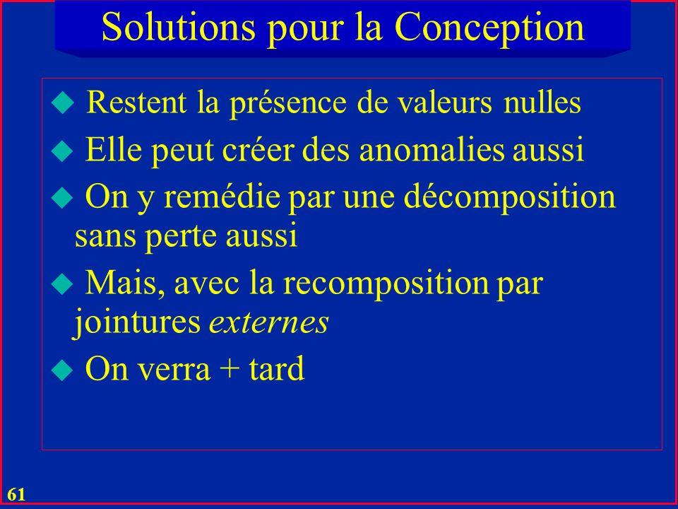 60 Solutions pour la Conception u Lest tables résultantes sont alors en toutes en BCNF u A fortiori en 4NF u Le résultat est en général optimal pour le relationnel classique u Pas danomalies ou de redondances u Toute table est en 5NF u Voir le cours sur la normalisation