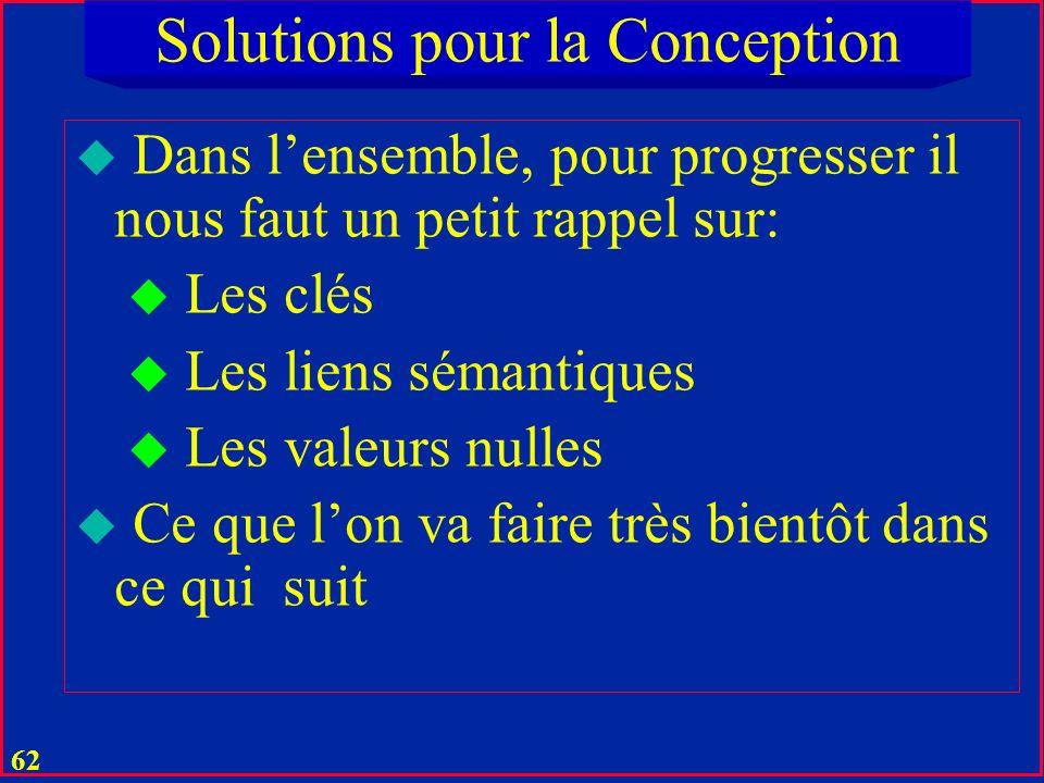 61 Solutions pour la Conception u Restent la présence de valeurs nulles u Elle peut créer des anomalies aussi u On y remédie par une décomposition san