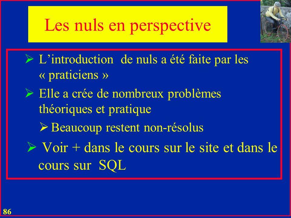 85 u On peut interdire la présence dun nul pour un attribut Dans la définition de lextension de la relation Notamment dans MsAccess La théorie initial