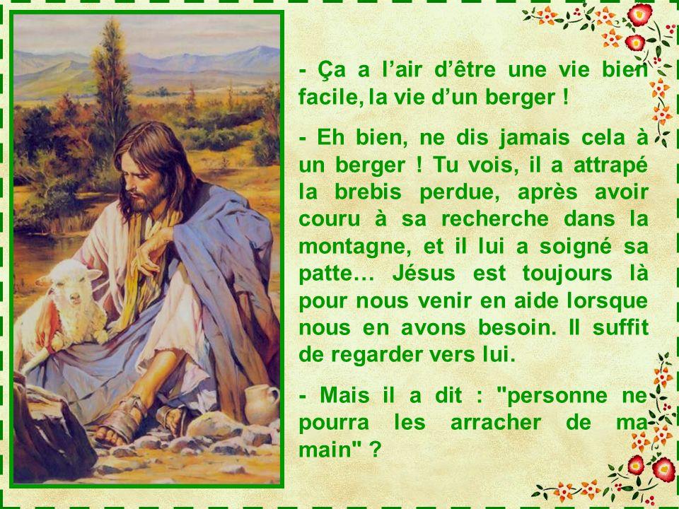 Regarde cette image, Teva : Jésus a risqué gros pour retrouver la brebis qui sétait égarée, mais il attend quelle fasse un geste vers lui, il ne veut
