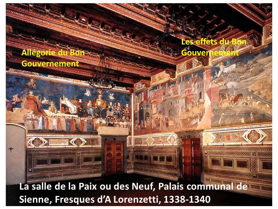La salle de la Paix ou des Neuf, Palais communal de Sienne, Fresques dA Lorenzetti, 1338-1340 Allégorie du Bon Gouvernement Les effets du Bon Gouverne
