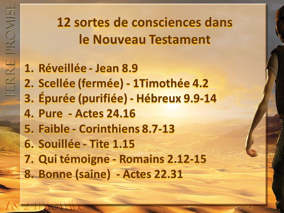 12 sortes de consciences dans le Nouveau Testament 1.Réveillée - Jean 8.9 2.Scellée (fermée) - 1Timothée 4.2 3.Épurée (purifiée) - Hébreux 9.9-14 4.Pure - Actes 24.16 5.Faible - Corinthiens 8.7-13 6.Souillée - Tite 1.15 7.Qui témoigne - Romains 2.12-15 8.Bonne (saine) - Actes 22.31 1.Réveillée - Jean 8.9 2.Scellée (fermée) - 1Timothée 4.2 3.Épurée (purifiée) - Hébreux 9.9-14 4.Pure - Actes 24.16 5.Faible - Corinthiens 8.7-13 6.Souillée - Tite 1.15 7.Qui témoigne - Romains 2.12-15 8.Bonne (saine) - Actes 22.31