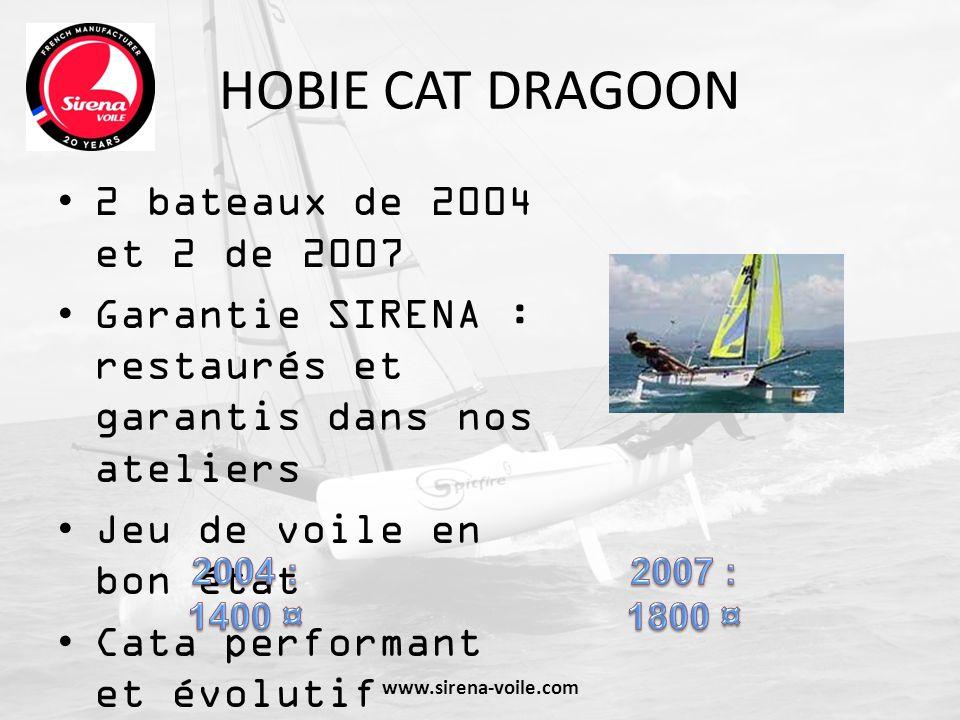 HOBIE CAT DRAGOON 2 bateaux de 2004 et 2 de 2007 Garantie SIRENA : restaurés et garantis dans nos ateliers Jeu de voile en bon état Cata performant et