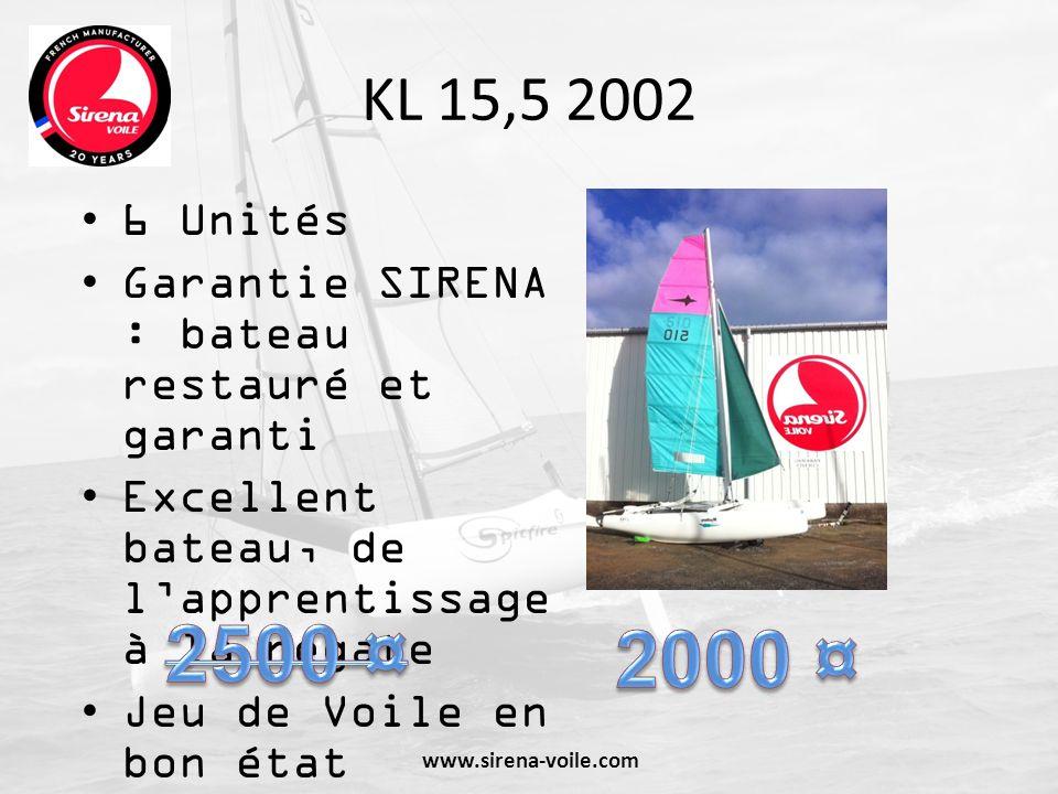 KL 15,5 2002 6 Unités Garantie SIRENA : bateau restauré et garanti Excellent bateau, de lapprentissage à la régate Jeu de Voile en bon état Ref : S434