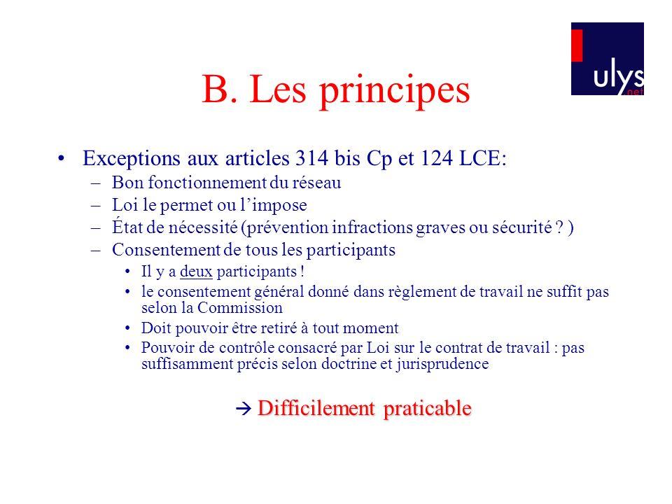 B. Les principes Exceptions aux articles 314 bis Cp et 124 LCE: –Bon fonctionnement du réseau –Loi le permet ou limpose –État de nécessité (prévention