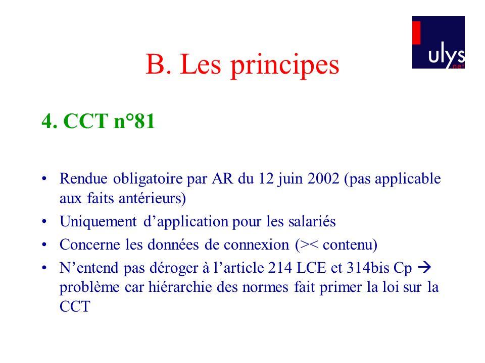 B. Les principes 4. CCT n°81 Rendue obligatoire par AR du 12 juin 2002 (pas applicable aux faits antérieurs) Uniquement dapplication pour les salariés