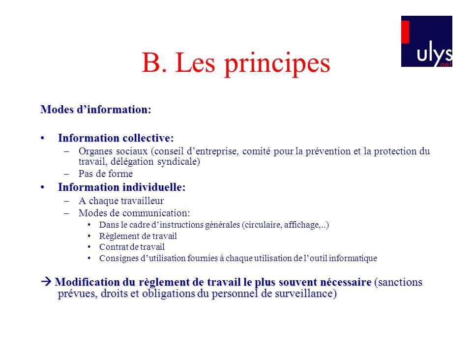 B. Les principes Modes dinformation: Information collective:Information collective: –Organes sociaux (conseil dentreprise, comité pour la prévention e