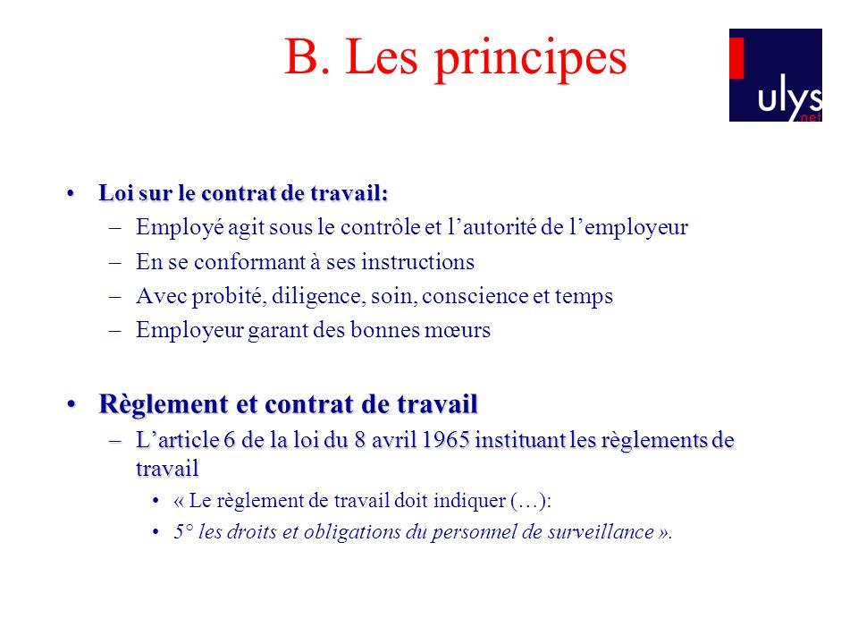 B. Les principes Loi sur le contrat de travail:Loi sur le contrat de travail: –Employé agit sous le contrôle et lautorité de lemployeur –En se conform
