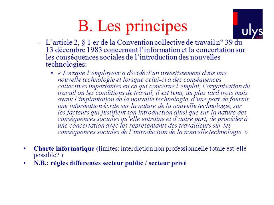 B. Les principes –Larticle 2, § 1 er de la Convention collective de travail n° 39 du 13 décembre 1983 concernant linformation et la concertation sur l
