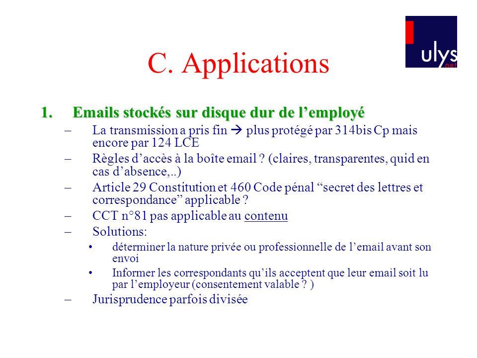 C. Applications 1.Emails stockés sur disque dur de lemployé –La transmission a pris fin plus protégé par 314bis Cp mais encore par 124 LCE –Règles dac