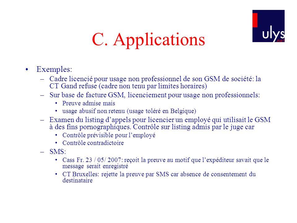 C. Applications Exemples: –Cadre licencié pour usage non professionnel de son GSM de société: la CT Gand refuse (cadre non tenu par limites horaires)