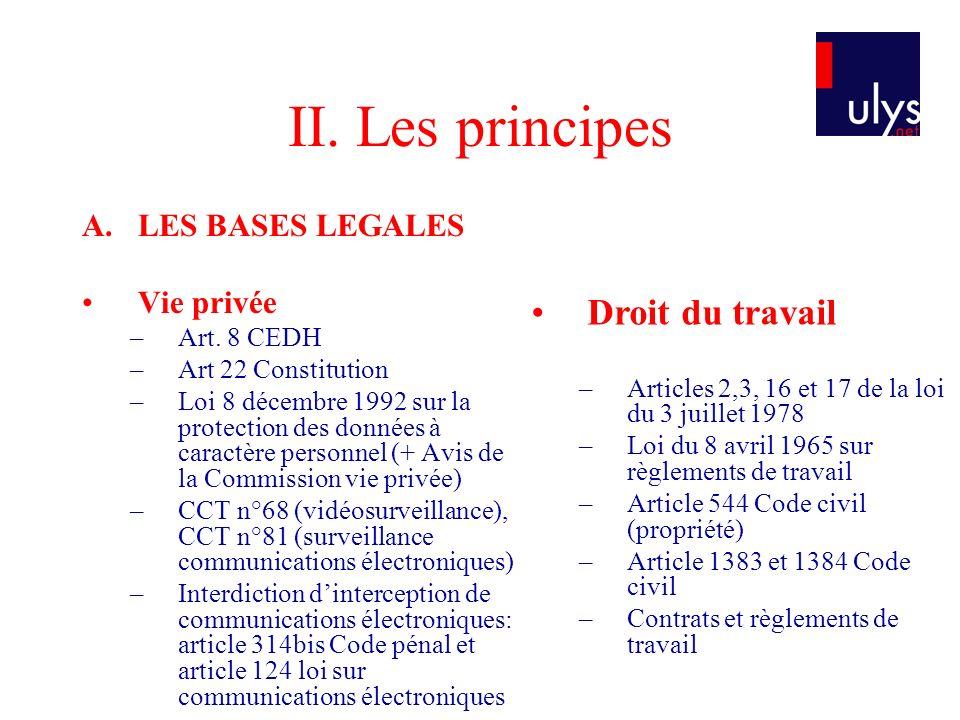 II. Les principes A.LES BASES LEGALES Vie privée –Art. 8 CEDH –Art 22 Constitution –Loi 8 décembre 1992 sur la protection des données à caractère pers