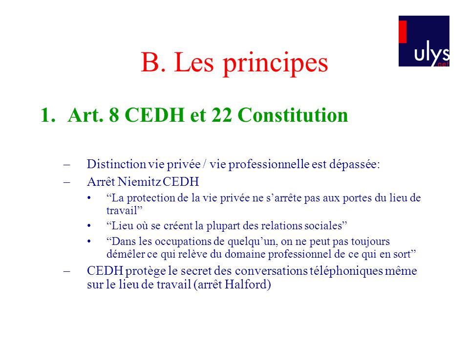 B. Les principes 1. Art. 8 CEDH et 22 Constitution –Distinction vie privée / vie professionnelle est dépassée: –Arrêt Niemitz CEDH La protection de la