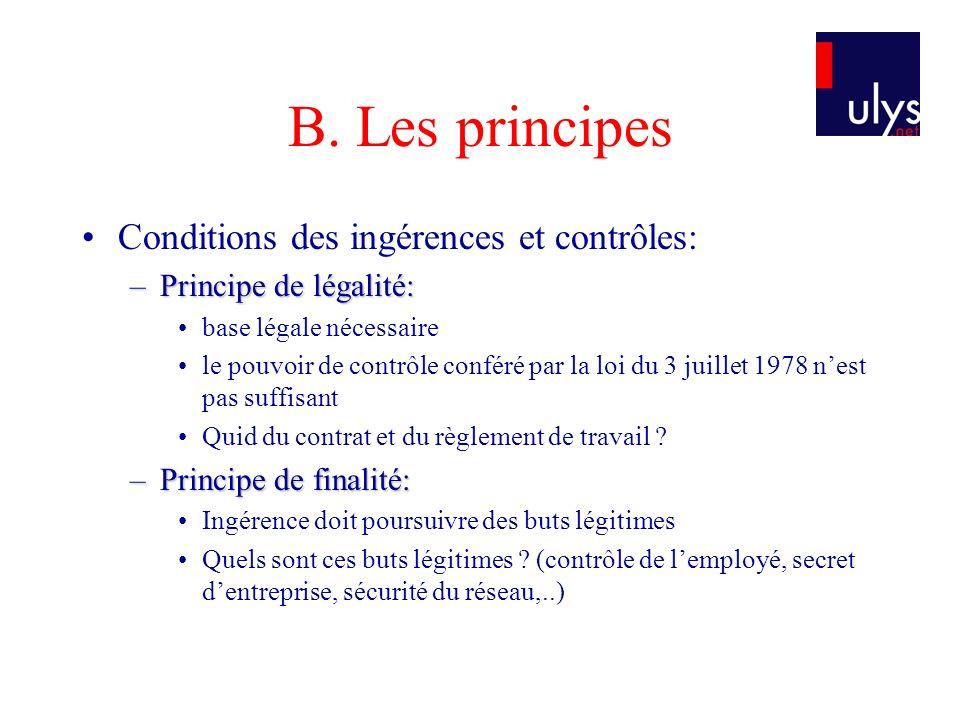B. Les principes Conditions des ingérences et contrôles: –Principe de légalité: base légale nécessaire le pouvoir de contrôle conféré par la loi du 3