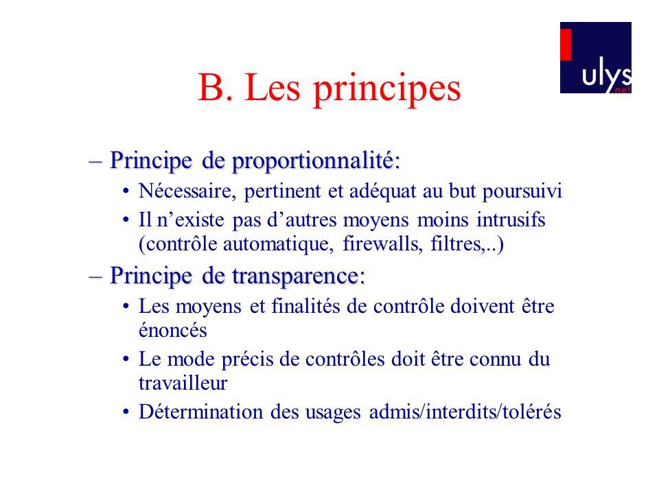 B. Les principes –Principe de proportionnalité: Nécessaire, pertinent et adéquat au but poursuivi Il nexiste pas dautres moyens moins intrusifs (contr