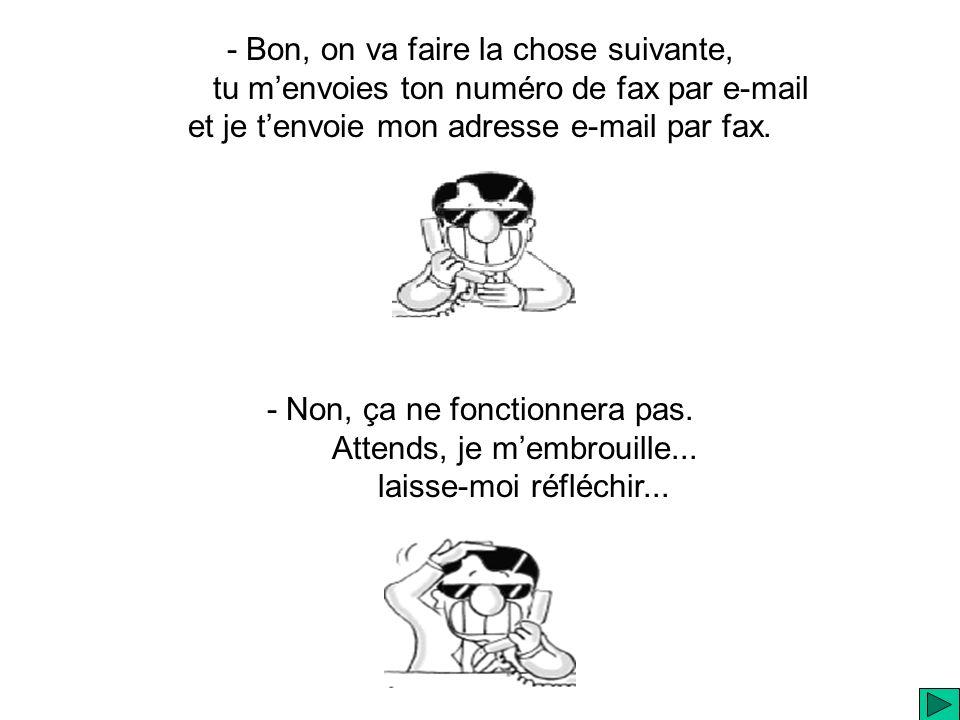 - Bon, on va faire la chose suivante, tu menvoies ton numéro de fax par e-mail et je tenvoie mon adresse e-mail par fax.