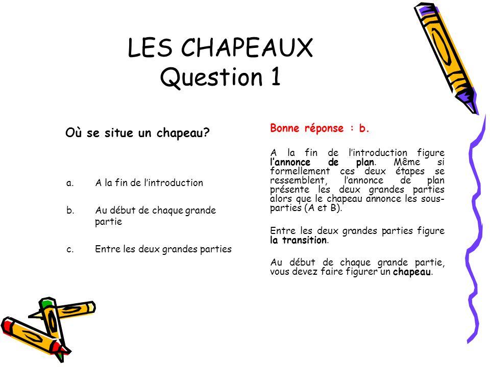 LES CHAPEAUX Question 1 Où se situe un chapeau? a.A la fin de lintroduction b.Au début de chaque grande partie c.Entre les deux grandes parties Bonne