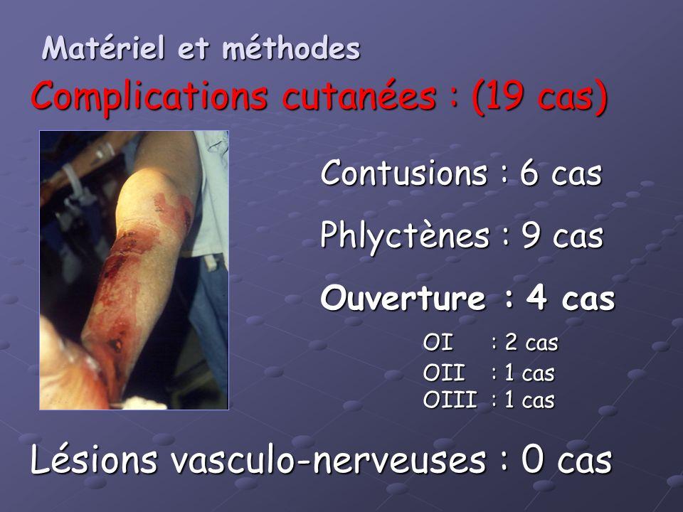 Complications cutanées : (19 cas) Lésions vasculo-nerveuses : 0 cas Contusions : 6 cas Phlyctènes : 9 cas Ouverture : 4 cas OI: 2 cas OII: 1 cas OIII: