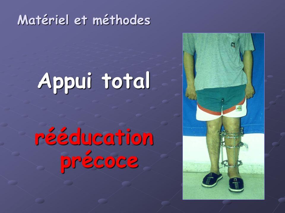 Appui total rééducation précoce Matériel et méthodes Matériel et méthodes