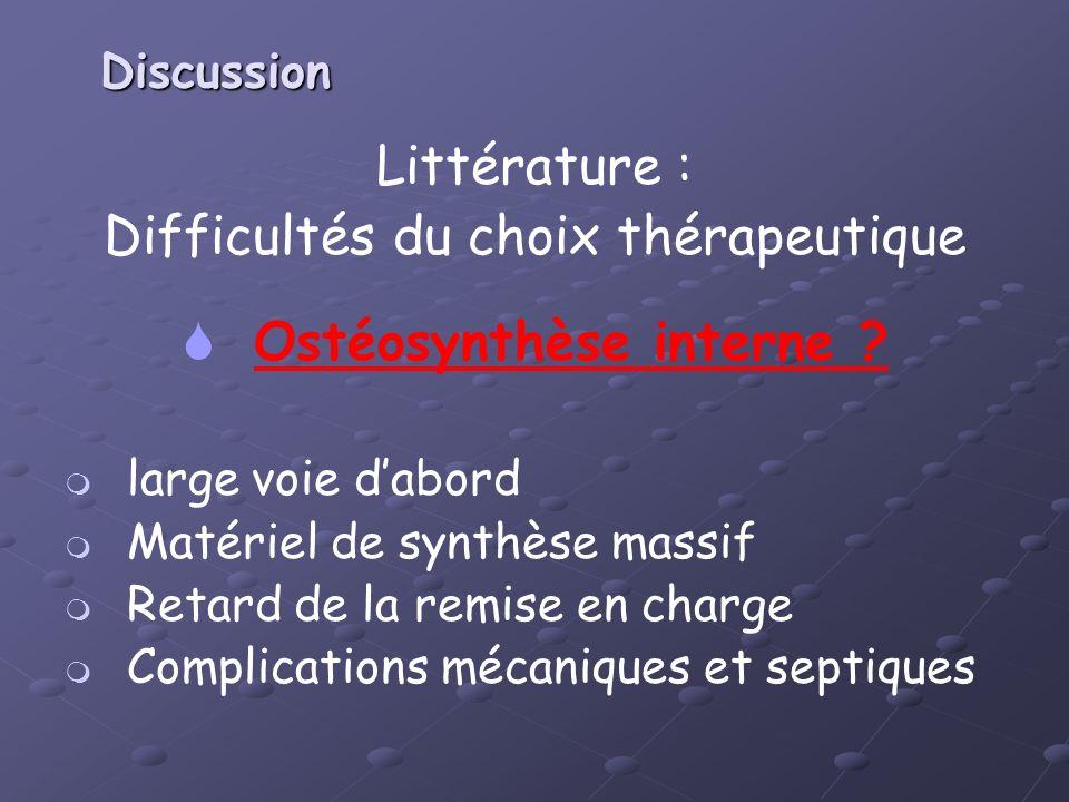 Discussion Littérature : Difficultés du choix thérapeutique Ostéosynthèse interne ? large voie dabord Matériel de synthèse massif Retard de la remise