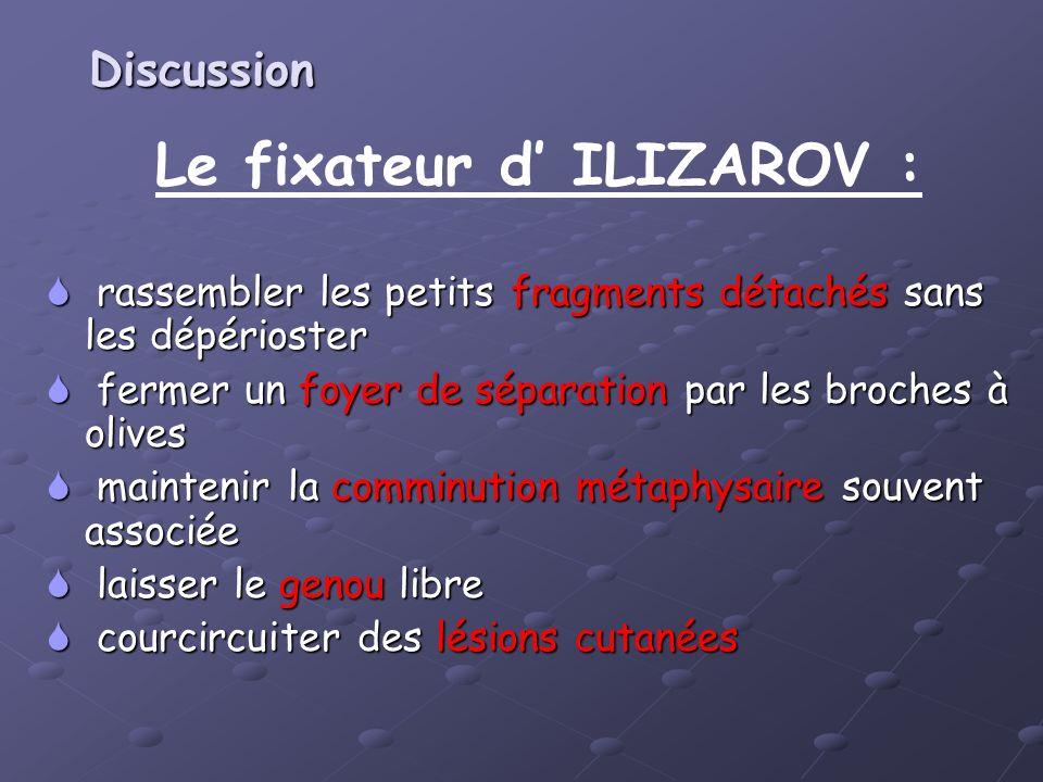 Le fixateur d ILIZAROV : rassembler les petits fragments détachés sans les dépérioster rassembler les petits fragments détachés sans les dépérioster f