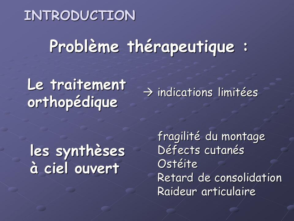 Problème thérapeutique : Le traitement orthopédique indications limitées indications limitées fragilité du montage Défects cutanés Ostéite Retard de c