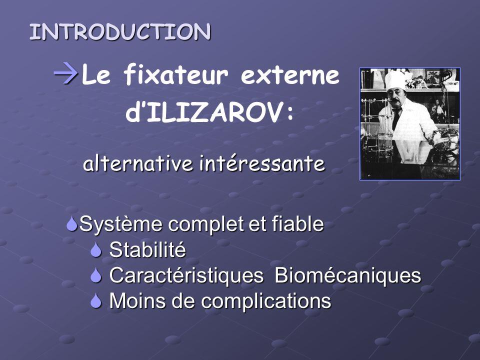 Le fixateur externe dILIZAROV: alternative intéressante alternative intéressante Système complet et fiable Système complet et fiable Stabilité Stabili