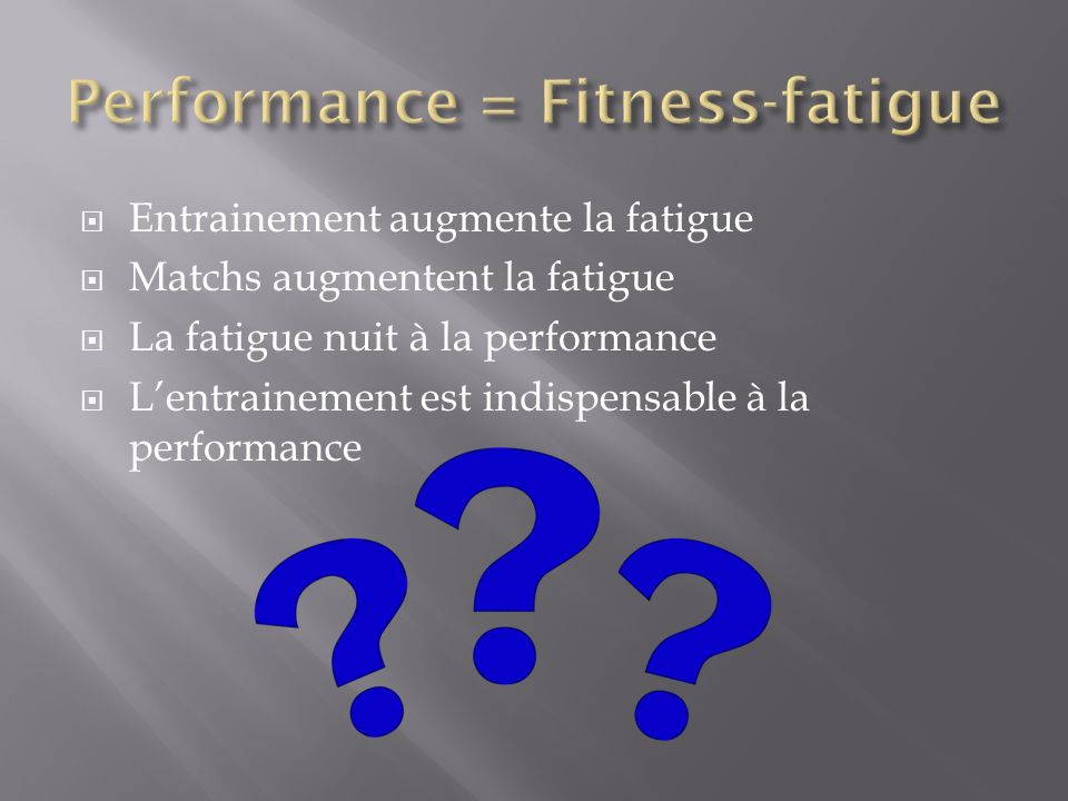 Entrainement augmente la fatigue Matchs augmentent la fatigue La fatigue nuit à la performance Lentrainement est indispensable à la performance