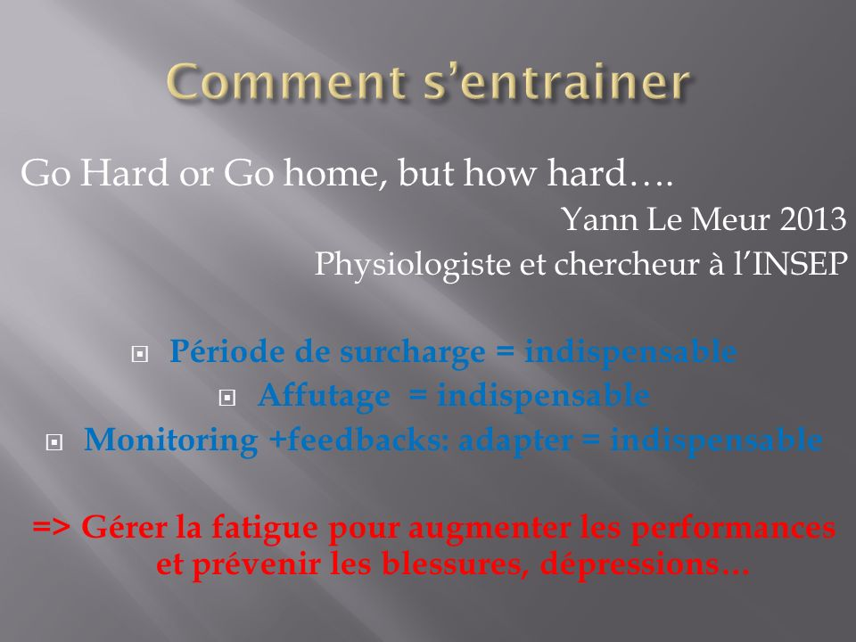 Go Hard or Go home, but how hard…. Yann Le Meur 2013 Physiologiste et chercheur à lINSEP Période de surcharge = indispensable Affutage = indispensable