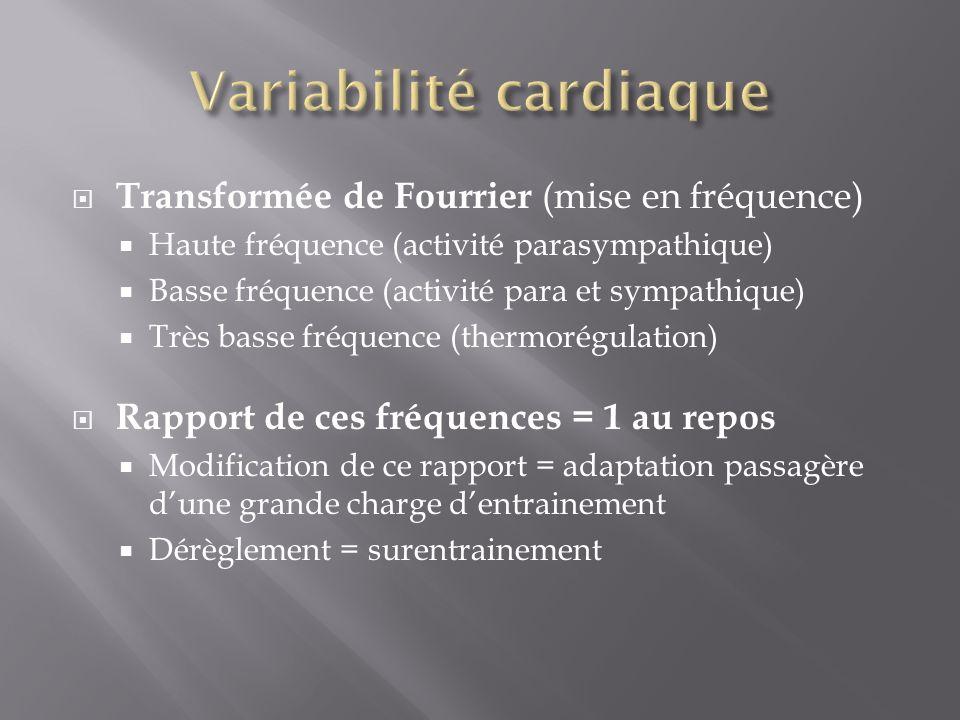 Transformée de Fourrier (mise en fréquence) Haute fréquence (activité parasympathique) Basse fréquence (activité para et sympathique) Très basse fréqu