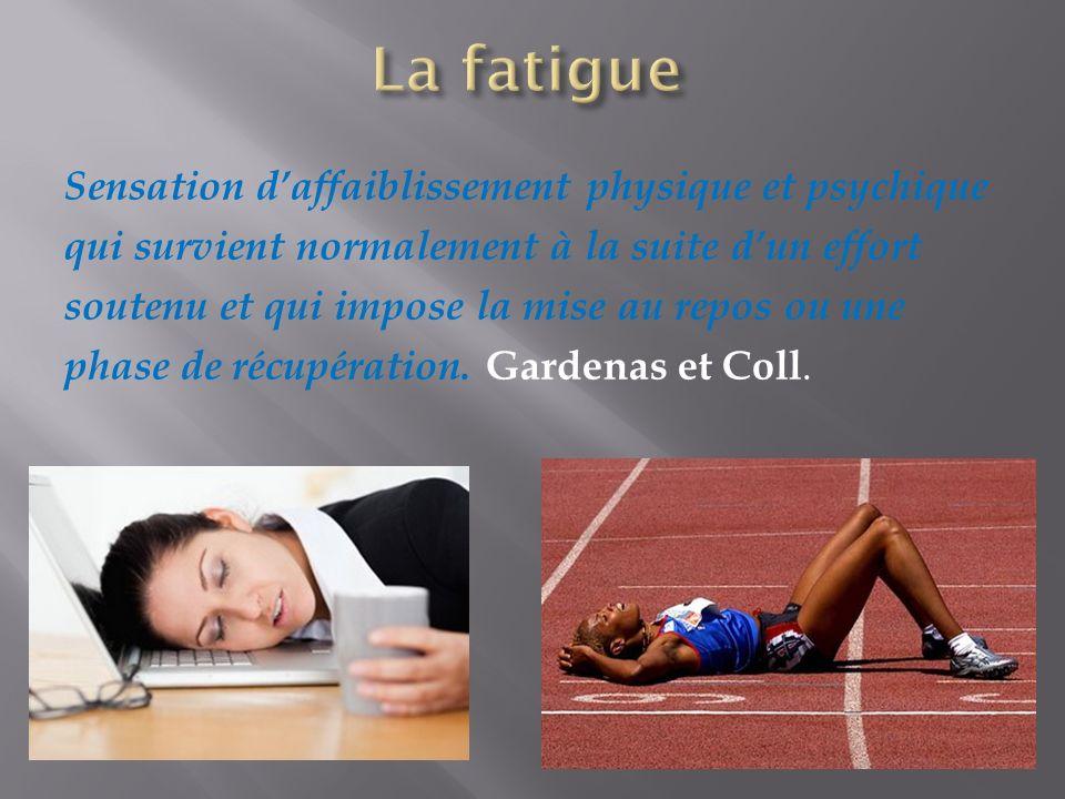 Sensation daffaiblissement physique et psychique qui survient normalement à la suite dun effort soutenu et qui impose la mise au repos ou une phase de