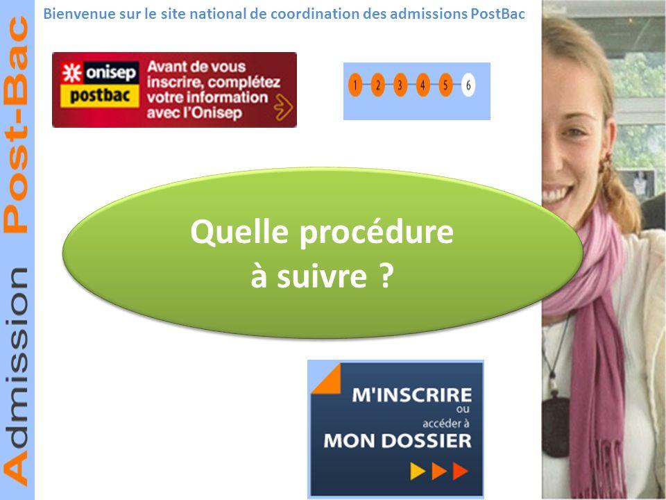 Bienvenue sur le site national de coordination des admissions PostBac Quelle procédure à suivre ? Quelle procédure à suivre ?