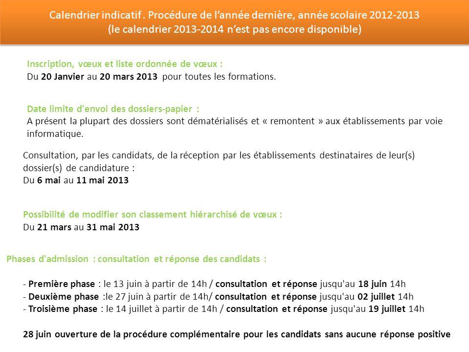 Calendrier indicatif. Procédure de lannée dernière, année scolaire 2012-2013 (le calendrier 2013-2014 nest pas encore disponible) Calendrier indicatif
