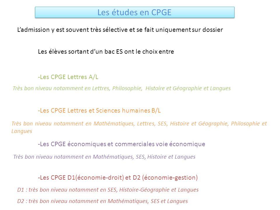 Les études en CPGE Ladmission y est souvent très sélective et se fait uniquement sur dossier Les élèves sortant dun bac ES ont le choix entre -Les CPG