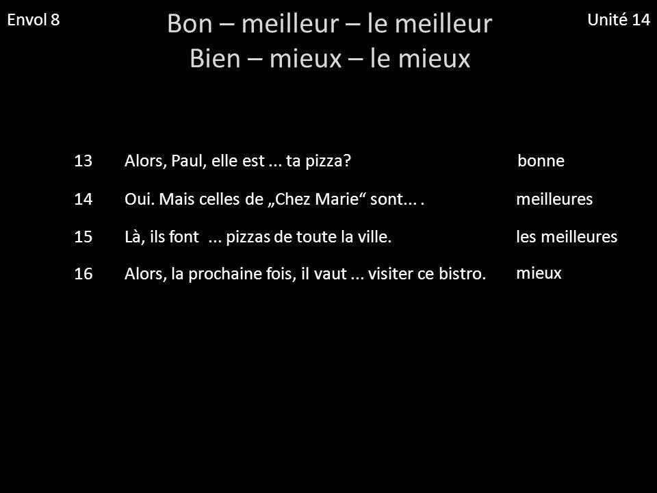 Envol 8Unité 14 Bon – meilleur – le meilleur Bien – mieux – le mieux 13Alors, Paul, elle est... ta pizza?bonne 14Oui. Mais celles de Chez Marie sont..