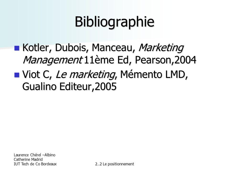 Laurence Chérel –Albino Catherine Madrid IUT Tech de Co Bordeaux2..2 Le positionnement Bibliographie Kotler, Dubois, Manceau, Marketing Management 11è