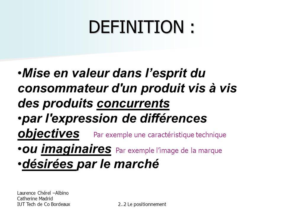 Laurence Chérel –Albino Catherine Madrid IUT Tech de Co Bordeaux2..2 Le positionnement DEFINITION : Mise en valeur dans lesprit du consommateur d'un p