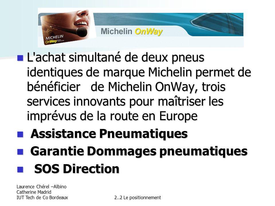 Laurence Chérel –Albino Catherine Madrid IUT Tech de Co Bordeaux2..2 Le positionnement L'achat simultané de deux pneus identiques de marque Michelin p
