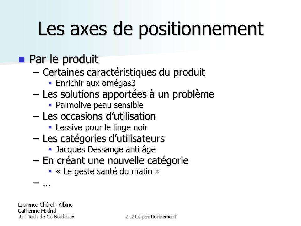 Laurence Chérel –Albino Catherine Madrid IUT Tech de Co Bordeaux2..2 Le positionnement Les axes de positionnement Par le produit Par le produit –Certa